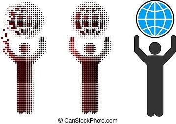 Shredded Pixel Halftone Globalist Icon