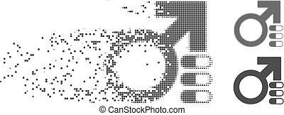 Shredded Pixel Halftone Male Erection Pills Icon