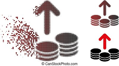 Shredded Pixel Halftone Payout Coins Icon - Vector payout...