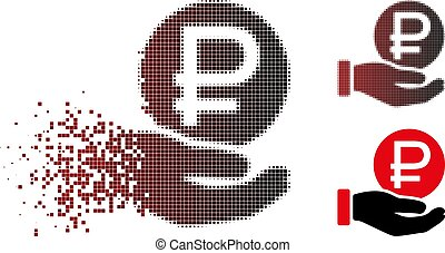 Shredded Pixel Halftone Rouble Coin Payment Icon