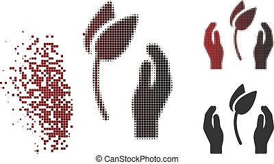 Shredded Pixel Halftone Sprout Care Hands Icon - Sprout care...