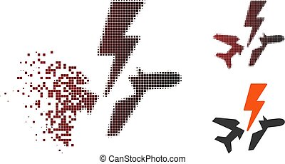Shredded Pixelated Halftone Aircraft Disaster Icon -...
