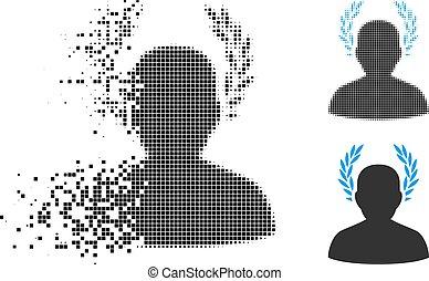 Shredded Pixelated Halftone Caesar Icon - Caesar icon in...