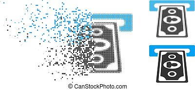 Shredded Pixelated Halftone Cashpoint Terminal Icon -...