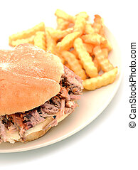 shredded pork sandwich and fries