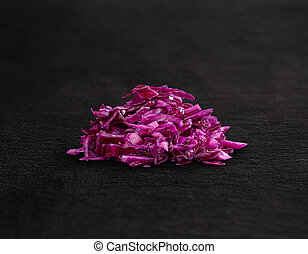 Shredded raw red cabbage
