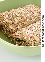 Shredded wheat biscuits in close up