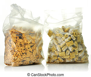 cereal - Shredded Wheat Cereal and bran and raisin cereal in...