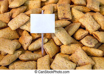Shredded wheat cereal with a placard ready for your text or ...