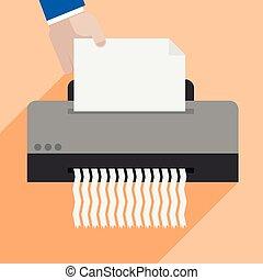 shredding paper - minimalistic illustration of a hand...