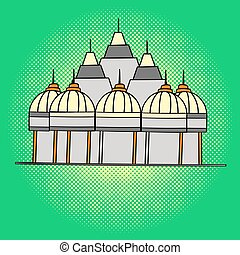 Shri Swaminarayan Mandir pop art vector. Beautiful adult...