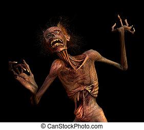 Shrieking Zombie - A zombie shrieks in horror at what it has...