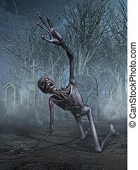 A horrified shrieking zombie crawls through a cemetery - 3D render.