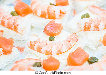 shrimp and salmon canape
