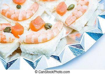 shrimp and salmon canape
