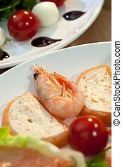 Shrimp and Salmon Mousse With Tomato Mozzarella Rocket Salad