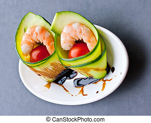 Shrimp appetizer - Appetizer with zucchini, shrimp and...