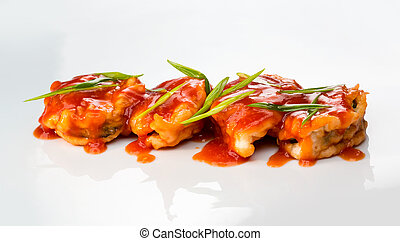 Shrimp baked with sauce