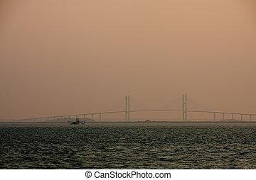 Shrimp Boat by Bridge in Dusk Pink