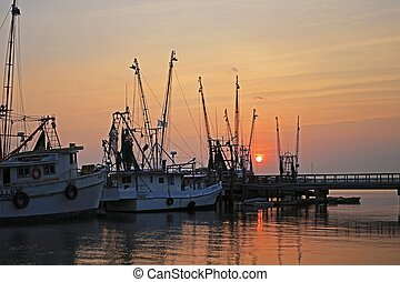 Shrimp boats at sunset, Beaufort, SC.