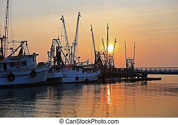 Shrimp boats at sunset, Beaufort, SC