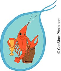 Shrimp cartoon character isolated