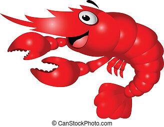 Shrimp cartoon - Vector illustration of shrimp cartoon