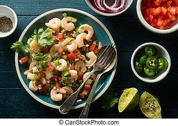 Shrimp Ceviche - Delicious shrimp ceviche with tomato, red...