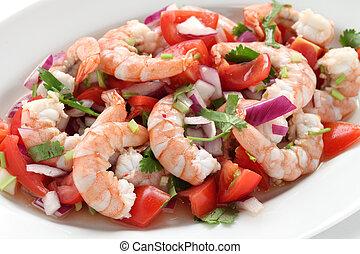 shrimp ceviche , prawn ceviche - seafood marinated salad