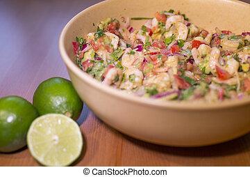 shrimp ceviche - bowl of delicious latin shrimp ceviche