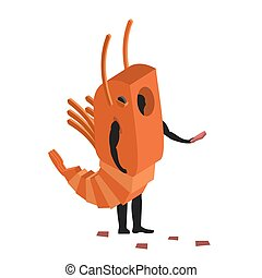Shrimp costume man mascot promoter. Male in suit marine animal distributes flyers. Puppets plankton engaged in advertising goods