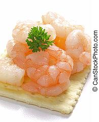 shrimp cracker        - close up of shrimp cracker