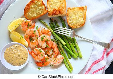 Shrimp dinner with honey mustard sauce