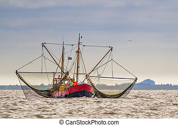 Shrimp fishing cutter ship on the Wadden sea - Shrimp...