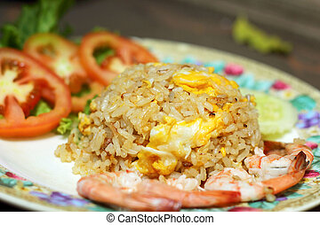 Shrimp fried rice on a plate