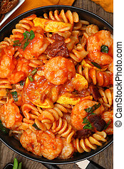Shrimp Fusilli Pasta with Veggies