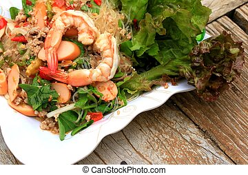 Shrimp glass noodles salad and - Asia food