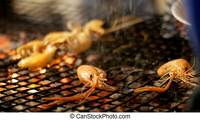 Shrimp grill in Night Food Market, Thailand Street Food