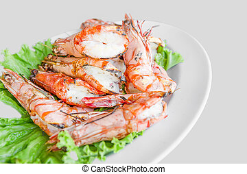 Shrimp grilled with dish isolated on white background