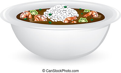 Shrimp Gumbo - Illustration of a bowl of shrimp and okra ...