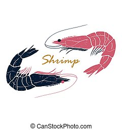 Shrimp hand drawn logo isolated on white background. Vector illustration for print, fish market label, infographics, food packaging or underwater sea animal themes design