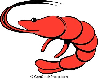 Shrimp icon cartoon - Shrimp icon in cartoon style isolated...