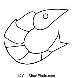 Shrimp icon, outline style
