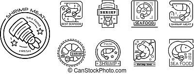 Shrimp icon set, outline style