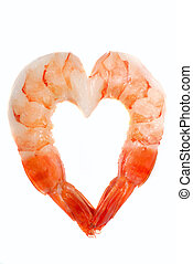 Shrimp in the shape of a heart