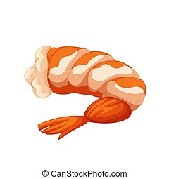 Shrimp isolated on white background. Vector flat color icon