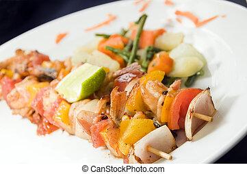 shrimp kabob Nicaragua style - shrimp kabob on skewer fresh...