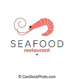 Shrimp logo template. Seafood restaurant sign. Prawn