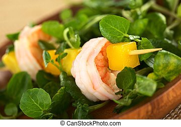 Shrimp, Mango, Avokado, Watercress - Fresh cooked shrimp, ...