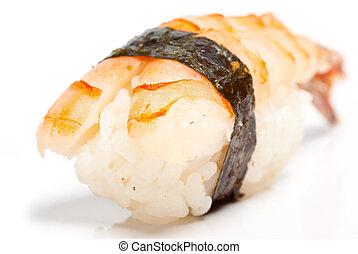 Shrimp nigiri sushi (ebi) on the white background